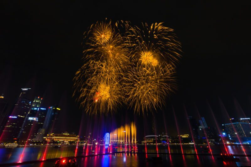 Singapore National Day Fireworks at Marina Bay Sands Event Plaza