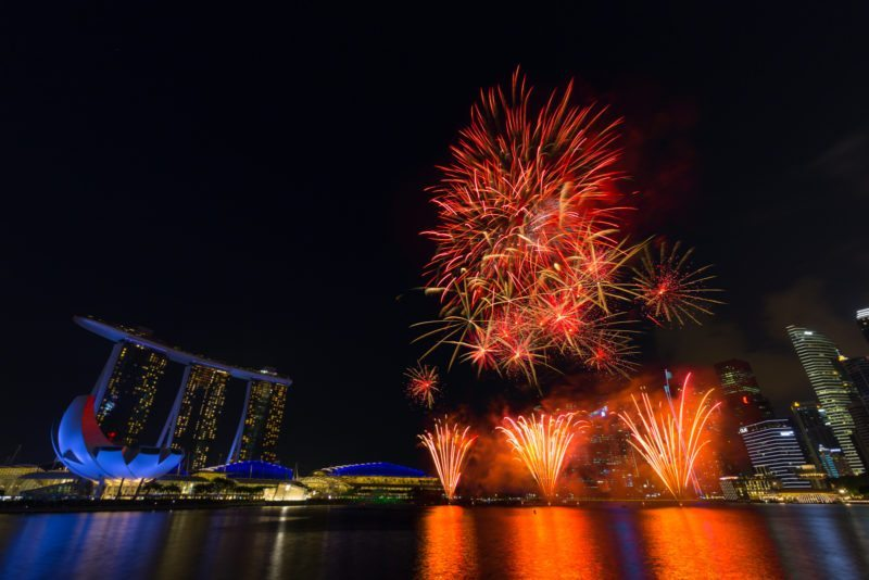 Singapore National Day Fireworks from outside Marina Bay Sands