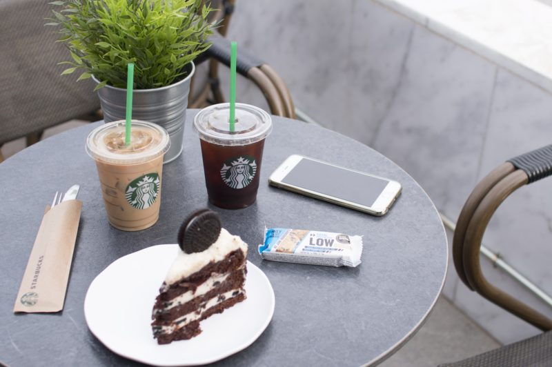 Drinks and a slice of cake from Starbucks