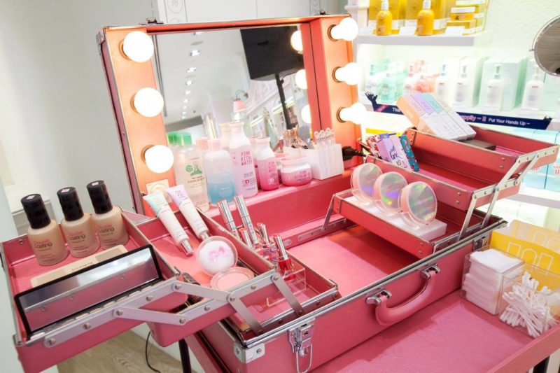 Etude House make-up box with Etude cosmetics and skincare items