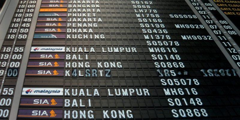 Changi Airport's split-flap display for departure timings
