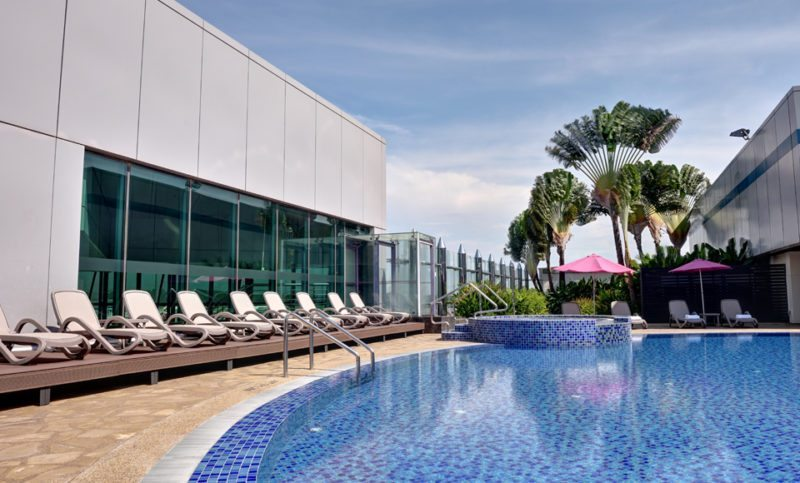 Rooftop swimming pool at Aerotel Airport Transit Hotel, Changi Airport