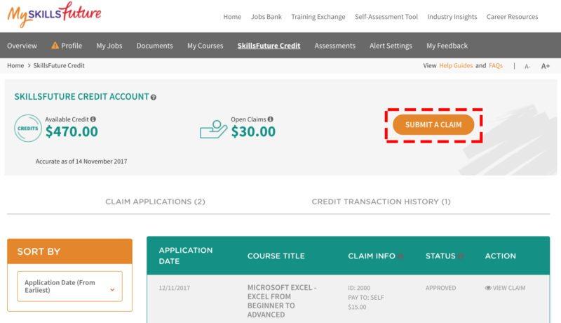 skillsfuture credit portal