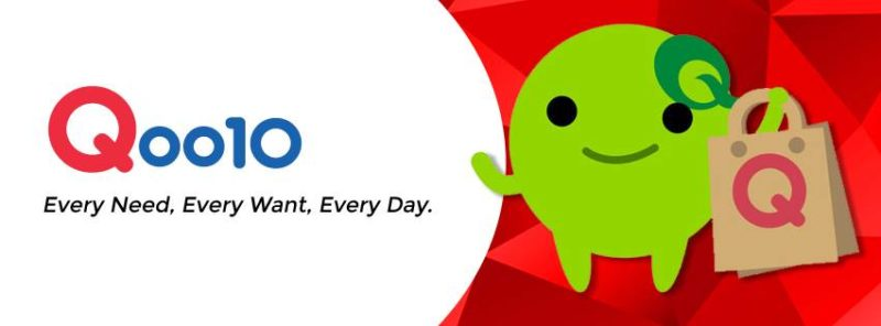 Image of Qoo10 with their mascot and slogan