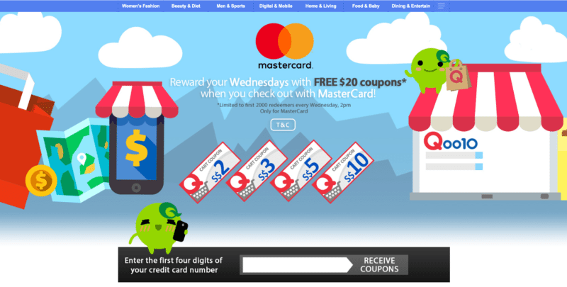 Screenshot of the Qoo10 Mastercard page with coupons available