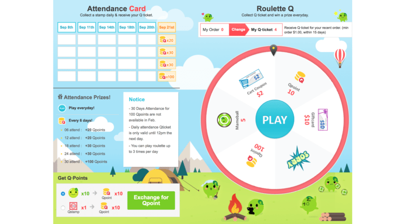 Screenshot of Qoo10's Q-lounge page with daily attendance card and Roulette Q