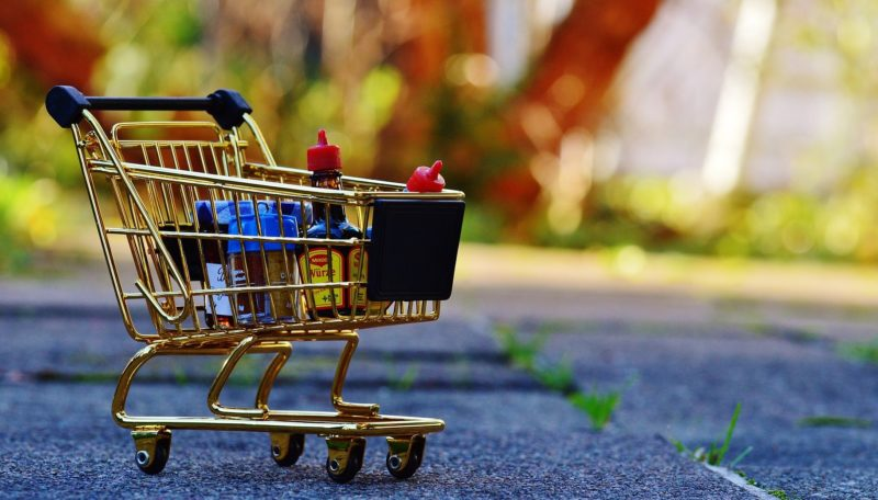 Miniature cart storing miniature groceries