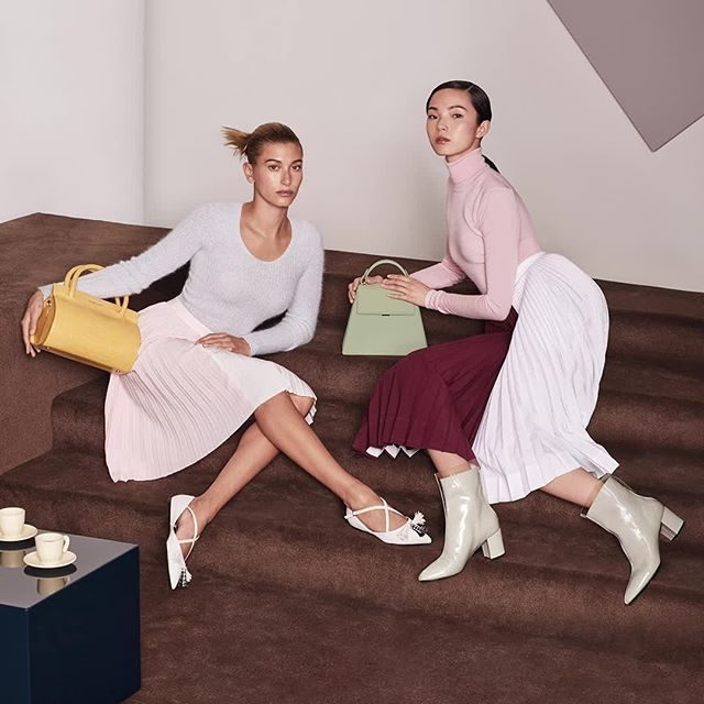 Hailey Bieber and Xiao Wen Ju in Charles and Keith newest collection