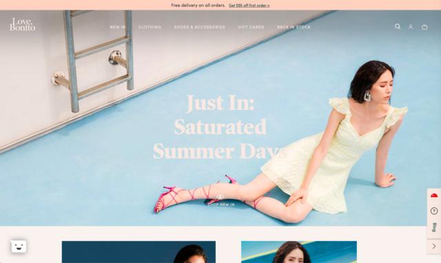 homepage of Love, Bonito website