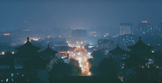 China, misty night