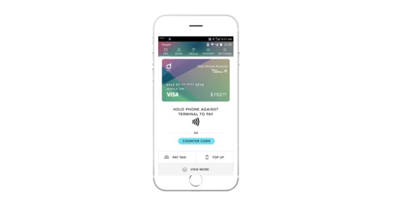 Screen of Singtel Dash app