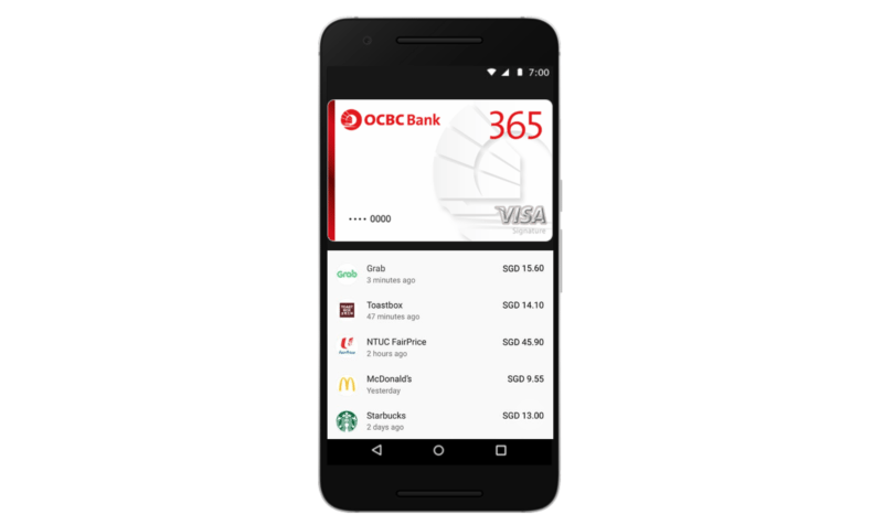 Screen of the Android Pay app