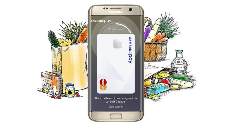 Samsung Pay advertisement with grocery shopping