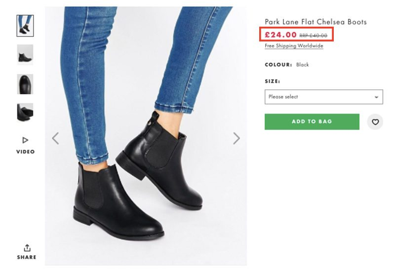 Price of Park Lane Chelsea Boots in GBP on ASOS