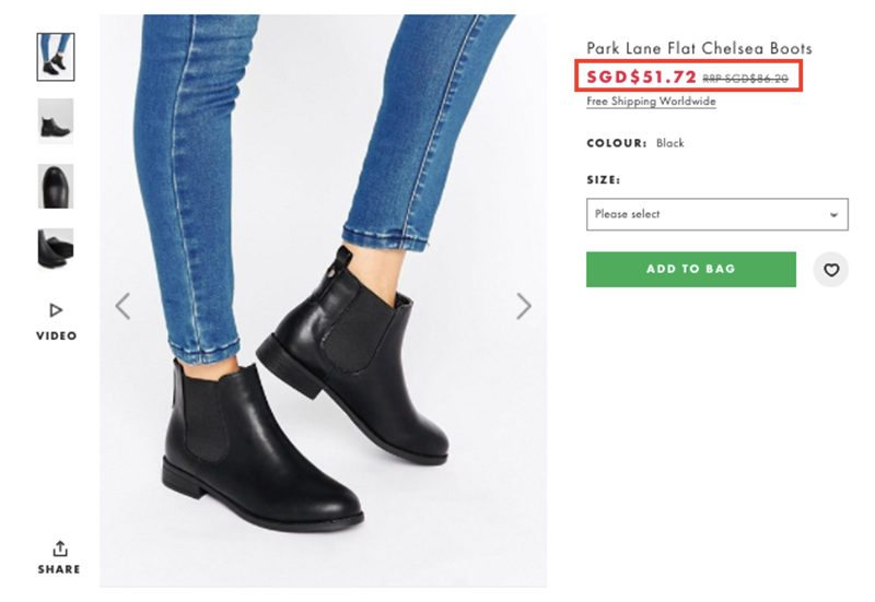 Price of Park Lane Chelsea Boots in SGD on ASOS