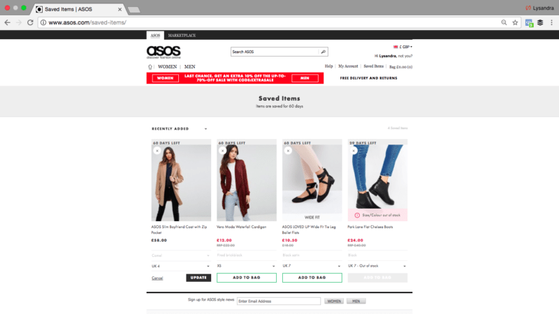 ASOS Saved Items Page