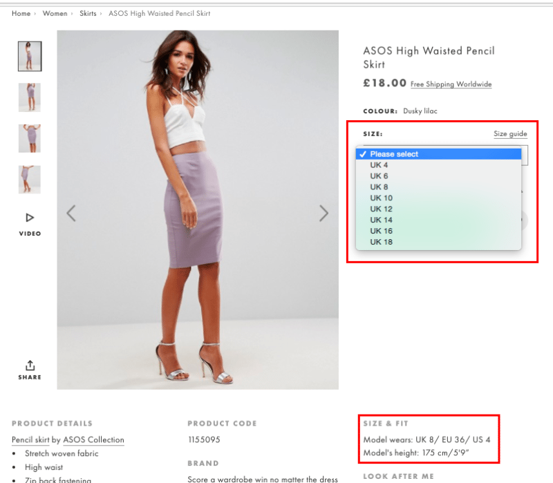 Product Information on ASOS listings
