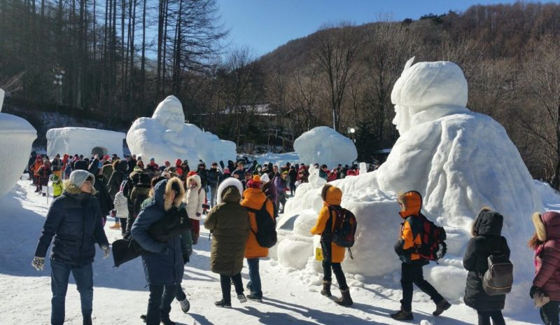 Taebaek Snow Festival snow sculptures on display