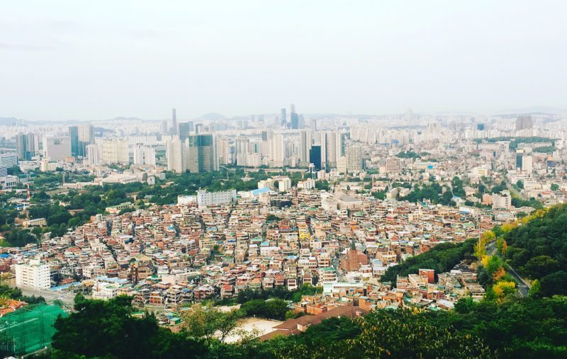 The cityscape of Seoul at Namsan Park