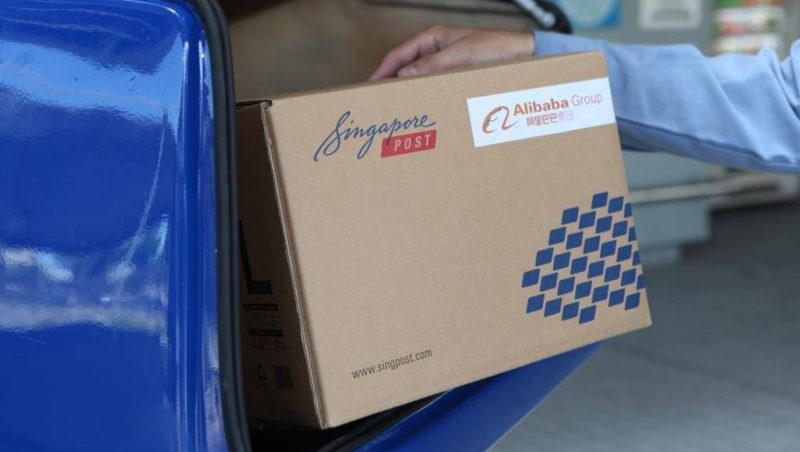 SingPost boxed package before it's delivered