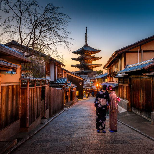 two women in kimono in tokyo old town