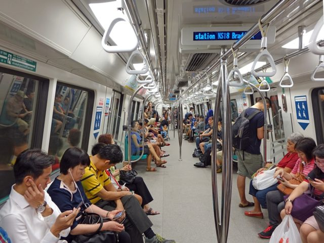Passengers on Mrt Train Singapore Mass Rapid Transit