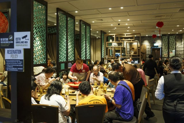 Singapore family at dinner