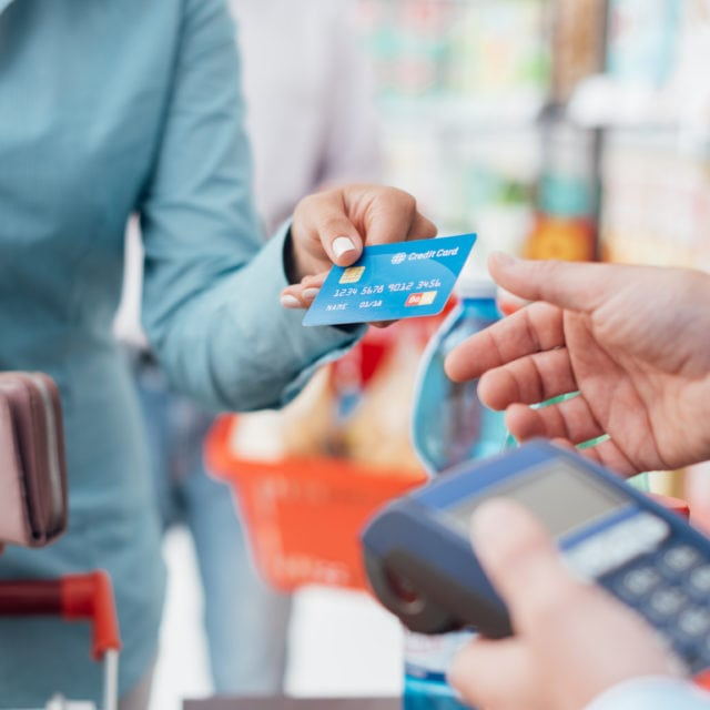 Paying with credit card at a store
