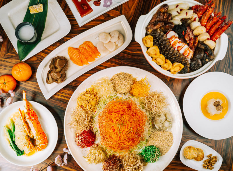 CNY feast spread in a table