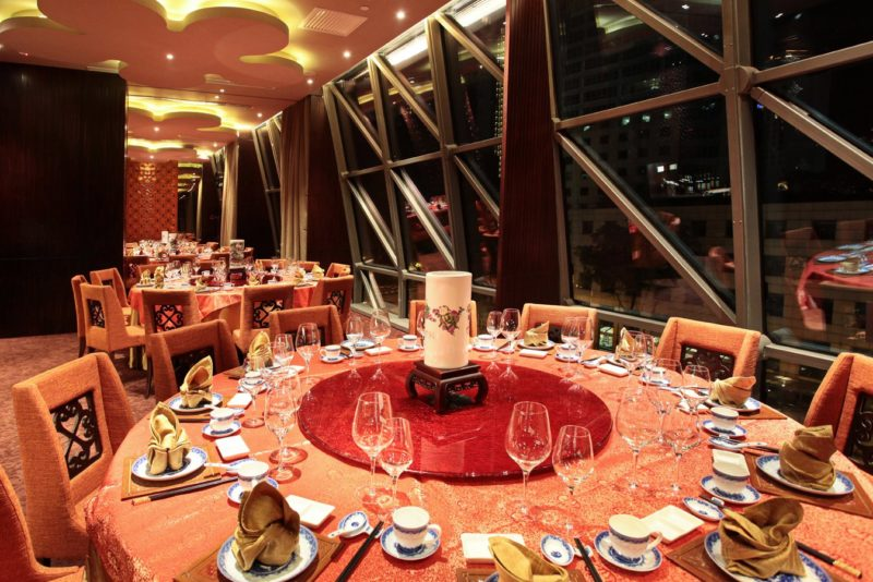 Dining table at Taste Paradise decorated for CNY