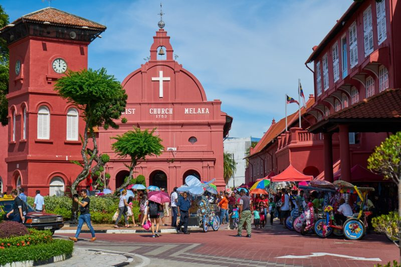 View of the Red Quare and Christ Church in Malacca