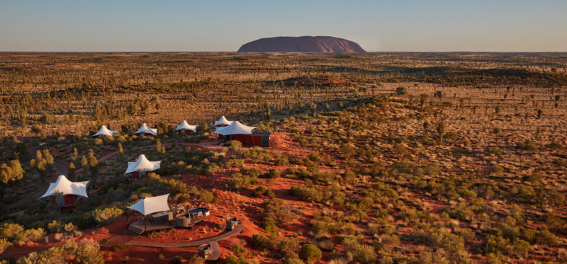 Aerial view of the lodge with Ayers Rock in the background