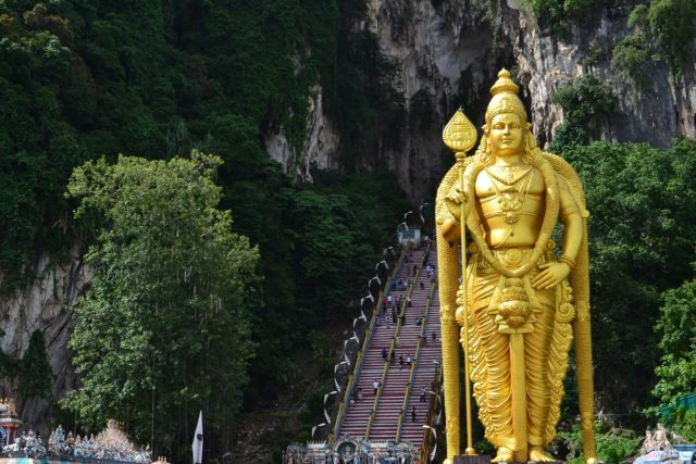 Batu Caves with stairs leading to top thaipusam malaysia