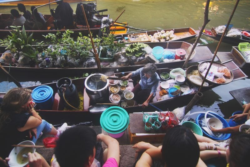 Authentic Thai food in a boat market in bangkok