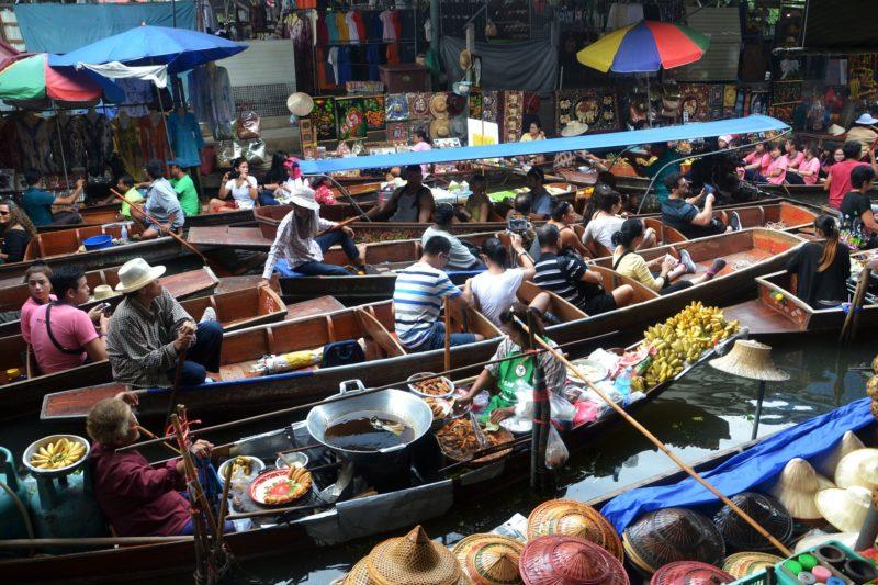 Busy boat market in Bangkok, Thailand