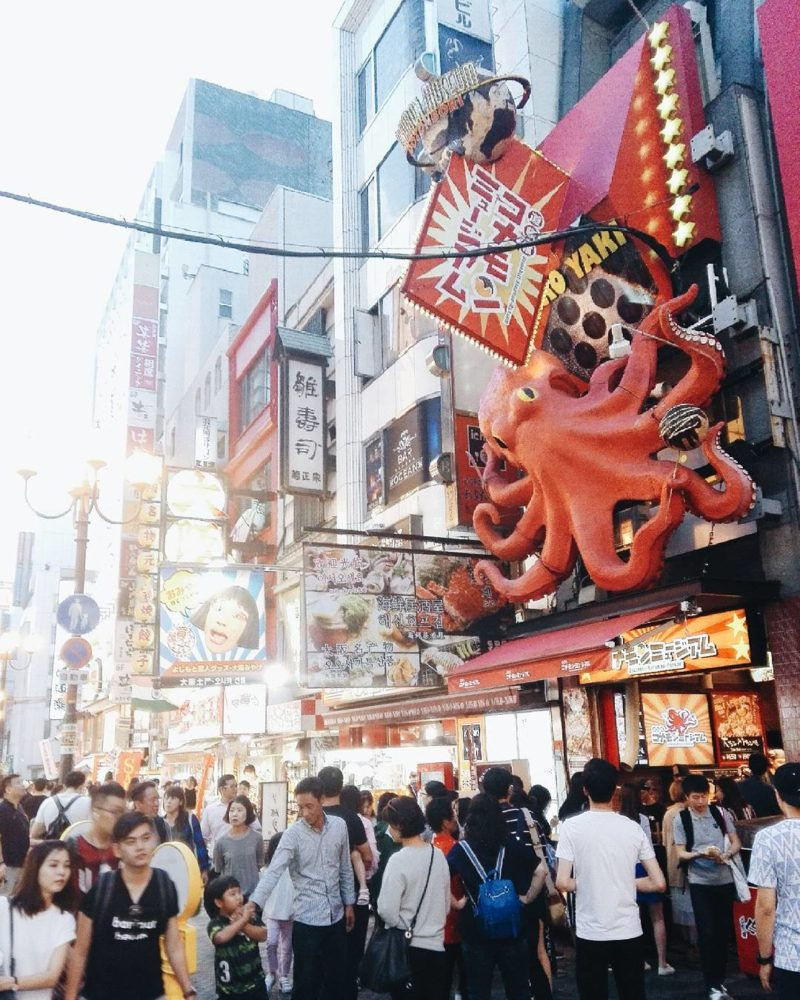 Great food stalls at Dotonbori Street in Osaka