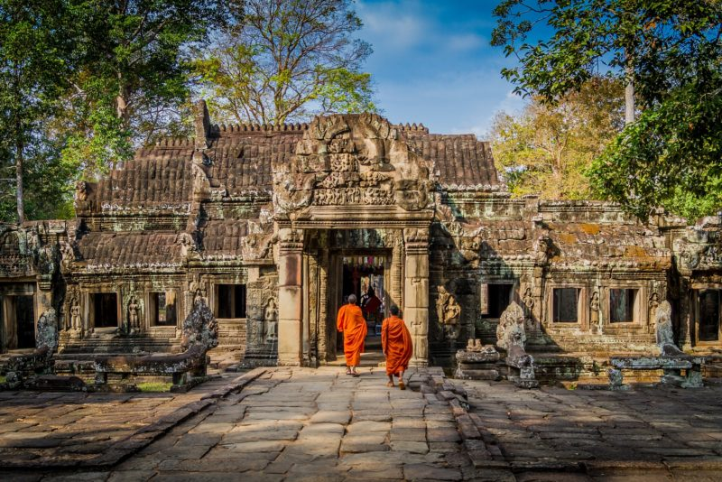 Monks at the temple entrance in Angkor Wat, Cambodia