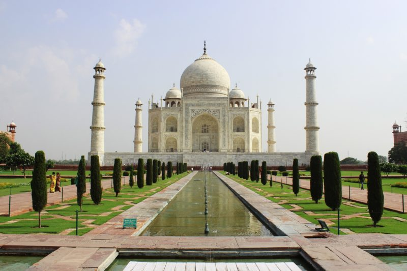 Front view of the Taj Mahal, in Agra, India