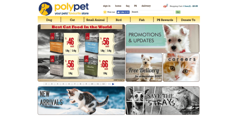 PolyPet online store where you can get all products for your pet