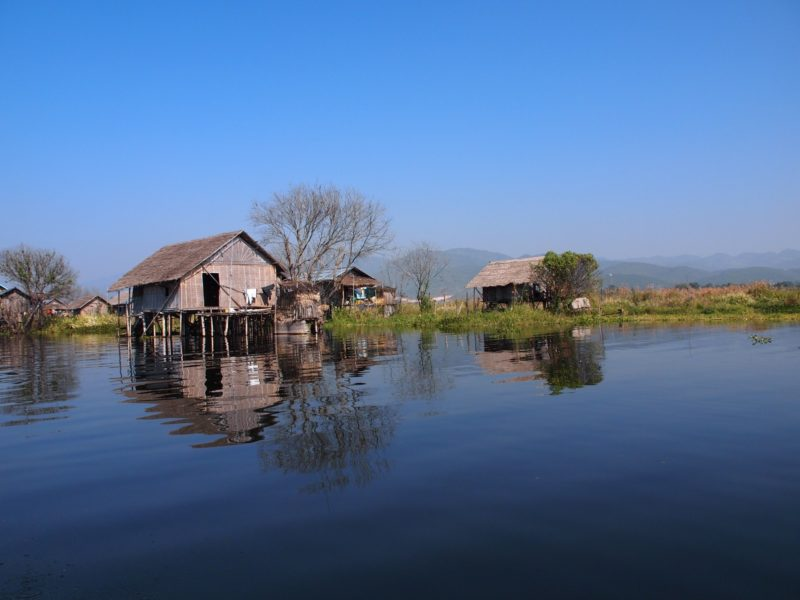Wooden-stilt house on Inle Lake Myanmar