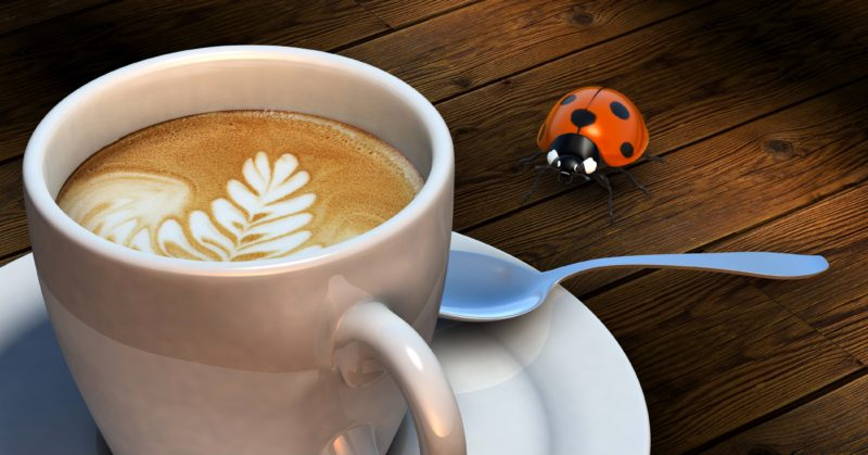 Coffee cup on table with ladybug deco