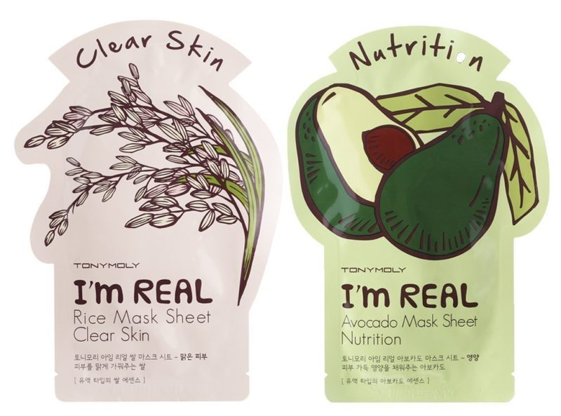 Tony moly facial sheet masks with rice for clear skin and avocado for nutrition