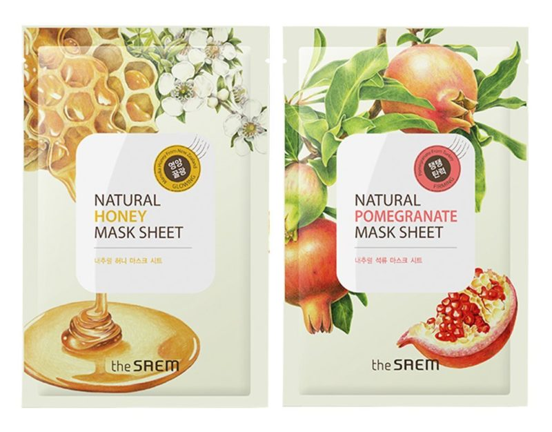The Saem face mask sheets with natural honey and natural pomegranate from Korea