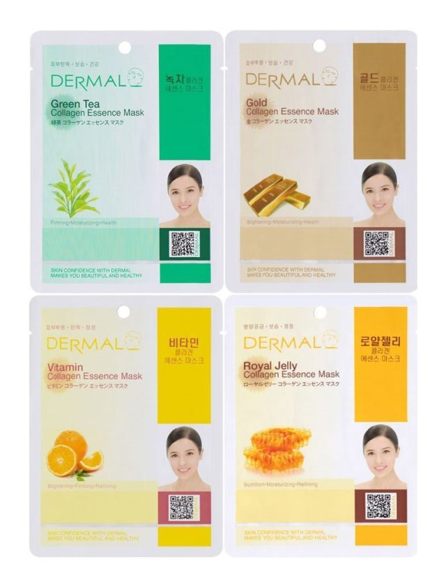 Dermal Korea facial masks with collagen essence and green tea, gold and royal jelly