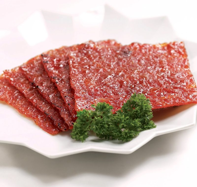 Pork bak kwa slices ready to eat in Singapore