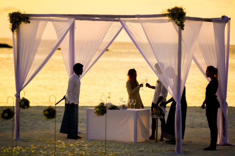 Sunset outdoor wedding