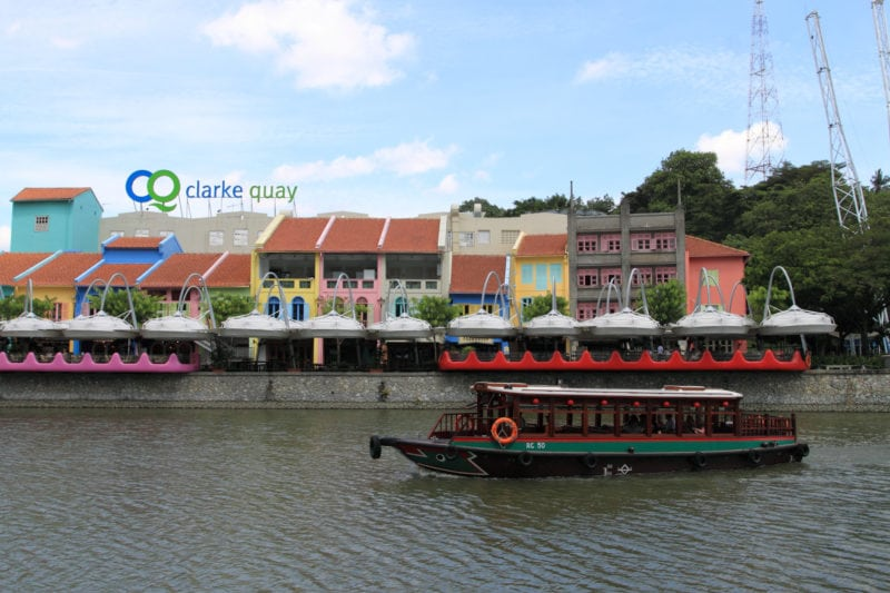 Clarke Quay scenery with boat over water