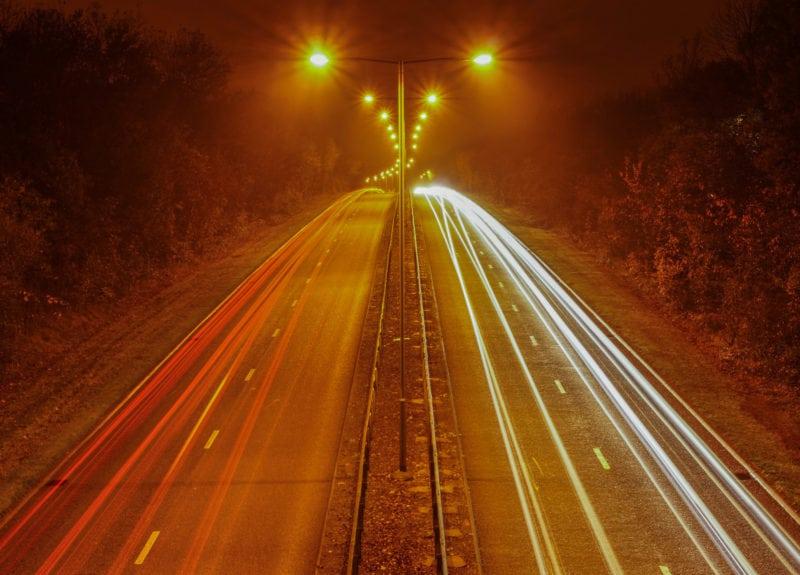 Highways scene by night