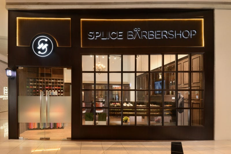 Splice Barbershop Shop frontage with glass windows