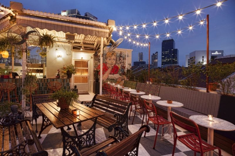 Potato Head rooftop bar view in singapore for a drink and a burger
